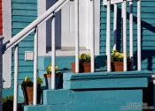 Travel photography:Staircase with flower pots in a house in St. John´s , Canada