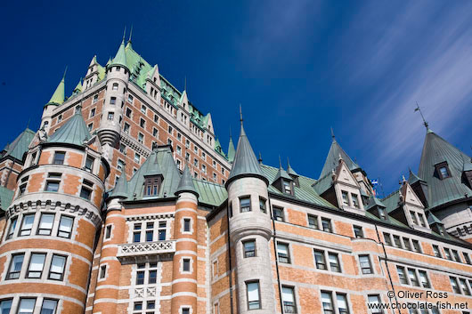 Close-up of the Château Frontenac castle in Quebec