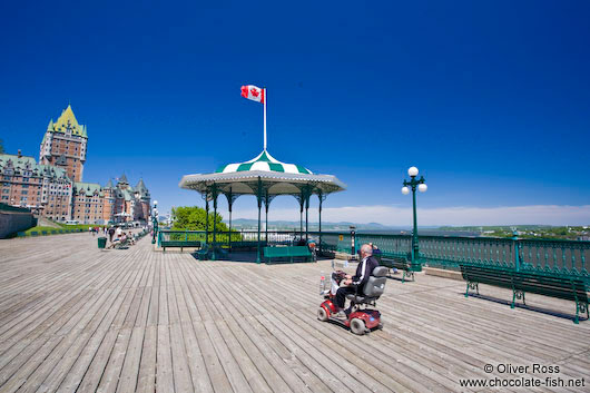The Château Frontenac castle in Quebec with Terrasse Dufferin promenade