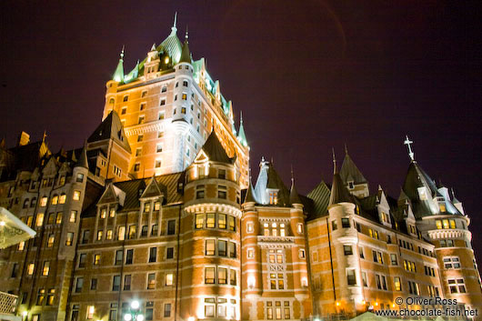 The Château Frontenac castle in Quebec by night
