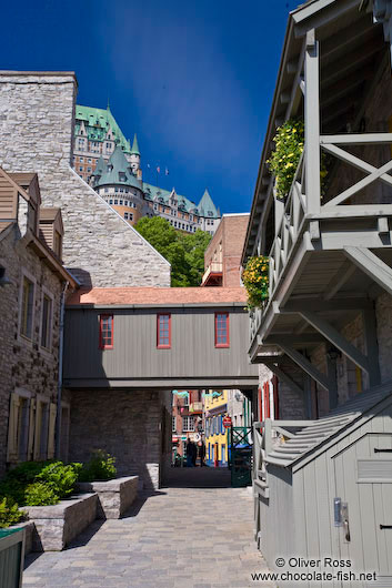 Old wooden houses in Quebec´s lower old town (basse ville)