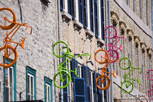 Bicycles on a facade in Quebec´s  lower old town (basse ville)