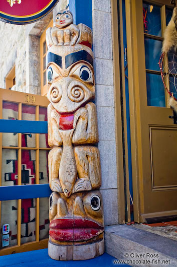 Totem pole outside a shop in Quebec