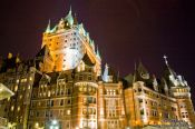 Travel photography:The Château Frontenac castle in Quebec by night, Canada