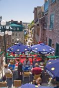 Travel photography:Terraced street cafe in Quebec´s old town (basse ville) , Canada