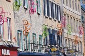 Travel photography:Bicycles on a house facade in Quebec´s old town, Canada