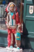 Travel photography:Native Canadian statue outside a shop in Quebec´s old town, Canada