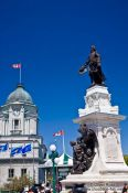 Travel photography:Statue opposite Frontenac castle in Quebec, Canada