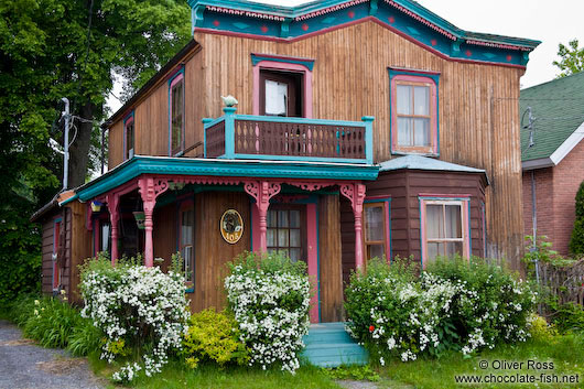 Typical old house along the Saint Lawrence river in Quebec