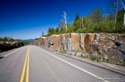 Travel photography:Road at the edge of Quebec´s Mont Tremblant National Park, Canada