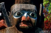 Travel photography:Totem Pole detail in Victoria, Vancouver Island, Canada