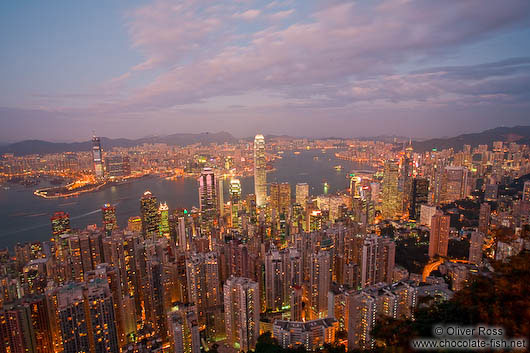Hong Kong bay and skyline at dusk
