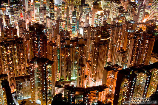 Appartment buildings in Hong Kong by night