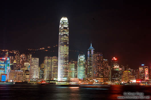 Hong Kong skyline by night as seen from Kowloon