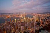 Travel photography:Hong Kong bay and skyline at dusk , China