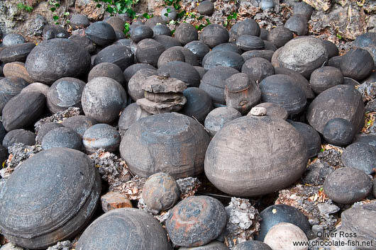 Round stones at Wenchang palace in Lijiang