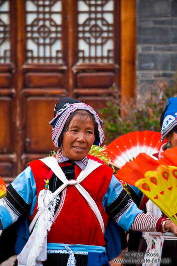 Naxi women performing a traditional dance in Lijiang