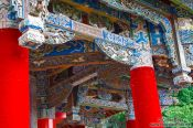 Travel photography:Facade detail of the Five Phoenix hall in Lijiang´s Black Dragon Pool park, China