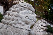 Travel photography:Stone lions at Wenchang palace in Lijiang, China