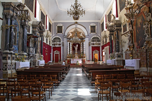 Inside Saint Saviour`s Church in Dubrovnik