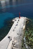 Travel photography:Bird`s perspective of the quay in Dubrovnik harbour, Croatia