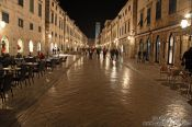 Travel photography:Dubrovnik main street by night, Croatia