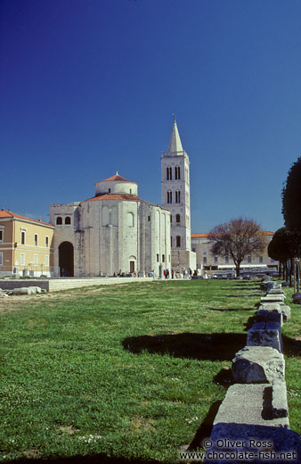 Roman Forum (Zeleni Trg) in Zadar with the Katedrala Sveti Stosije (cathedral of Saint Anastasia) and the church of Sveti Donat (Saint Donatus)