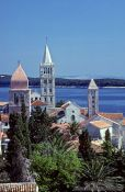 Travel photography:Bell towers in Rab town, Croatia