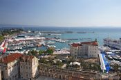 Travel photography:Aerial view of Split harbour, Croatia