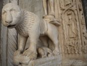 Travel photography:A lion guards the Katedrala Sveti Lovrijenac (Saint Lawrence Cathedral) in Trogir, Croatia
