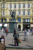 Travel photography:Trg Bana Jelacica (main square) with bronze equestrian statue of Ban Jelacic, Croatia