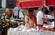 Travel photography:Selling cheese at Zagreb market, Croatia