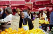 Travel photography:Fruit vendor at Zagreb market, Croatia
