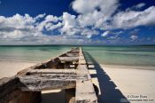 Travel photography:Derelict pier at Cayo-las-Bruchas beach, Cuba