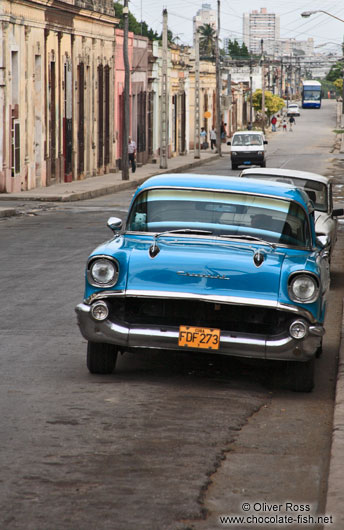 Cienfuegos street with classic car