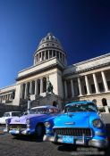 Travel photography:Classic cars outside the Capitolio, Cuba