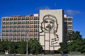 Travel photography:The ministry of the interior with large Che Guevara portrait, Cuba