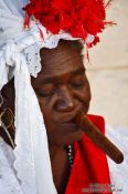 Travel photography:Havana fortune teller with cigar, Cuba