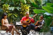 Travel photography:Musicians practising in a patio, Cuba