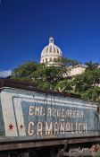 Travel photography:Old train with the Capitolio in Havana, Cuba