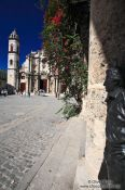 Travel photography:Havana Plaza de la Catedral with statue of Antonio Gades a famous flamenco dancer , Cuba