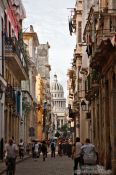 Travel photography:Havana street with Capitolio, Cuba