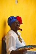 Travel photography:Havana woman with cigar, Cuba