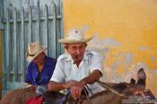 Travel photography:Trinidad man with donkey, Cuba