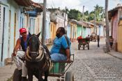 Travel photography:Trinidad street with horse carriage, Cuba