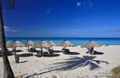 Travel photography:Sun umbrellas on a beach in Varadero, Cuba