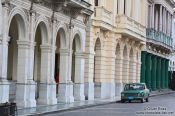 Travel photography:Houses on the main square in Santa Clara , Cuba
