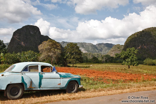 Car parked in the Viñales landscape