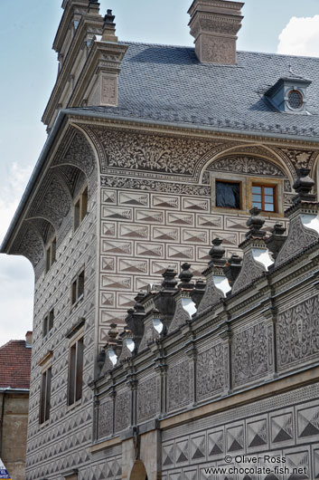 Facade detail of the Schwarzenberg palace in Prague castle
