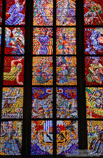 Glass window in the St. Vitus Cathedral